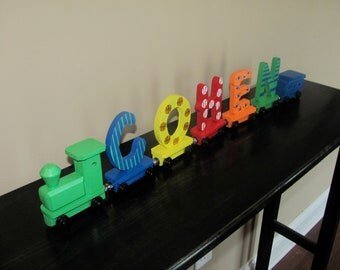 Handmade Wooden Toy Name Train-5 letters