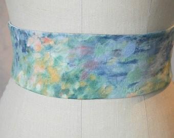 watercolor impressionistic Obi sash belt wedding something blue engagement silk pale green
