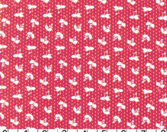 SALE Fabric for quilt or craft Sprout in Fuchsia Madrona Road by Violet Craft for Michael Miller fabric 1 Half Yard