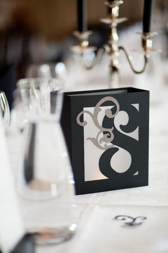 Table number luminaries wedding centerpiece by minkspaperie