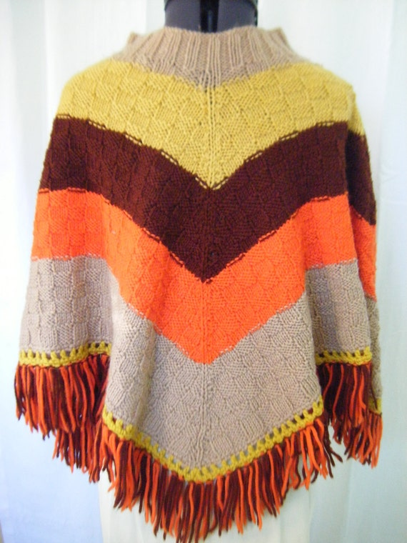 Vintage Poncho 1970s Candy Corn Fall Colors