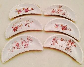 Set of 6 BONE DISHES - Pink & White Floral transferware - Semi-Vitreous Porcelain - Free Shipping