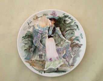 """LIMOGES Collector Plate - Lady's COSTUME PLATE """"Lea la Femme Fleur - La Belle Epoque 1900"""" - Free Shipping"""