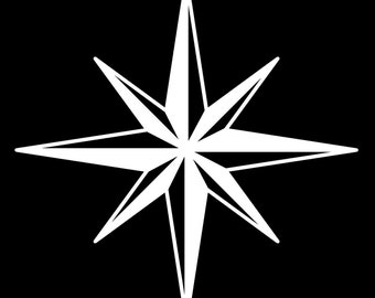 Eight Point Star Removable Vinyl Decal FREE SHIPPING