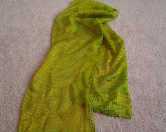 Clearance Sale on all silk scarves, greatly reduced.Devore' silk/rayon sative chiffon scarf dyed in lime green, 8X54 inches, shimmering dots
