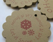 Christmas Tags Scalloped Circle Holiday for Gifts or Favors -  Set of 50 - 2 inch or other Shapes Shown