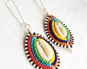 CLEARLY MAASAI - Silver Beaded Cowrie Shell Earrings