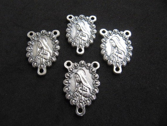 Beautiful Italian Silver Miraculous Mary with Roses Rosary Center - set of 4