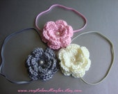 Set of 3 Elastic Headbands with Crochet Flowers Attached - Gray, Light Pink, and Ivory - Perfect for Photos