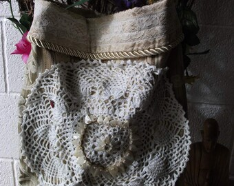 bohemian tapestry freeform  tote, purse with vintage doily & shells