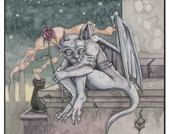 Gargoyle painting in watercolor fantasy art  8 x 10 print stone statue