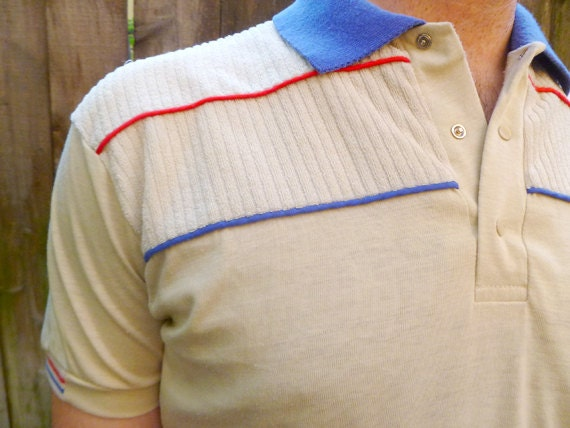 Fitted vintage 70s polo shirt with terry cloth shoulders for Terry cloth polo shirt