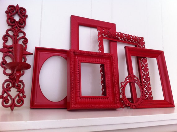 Red Frames Gallery Wall Frames Funky Vintage Frame Set Collage Red Riding Hood Upcycled Painted