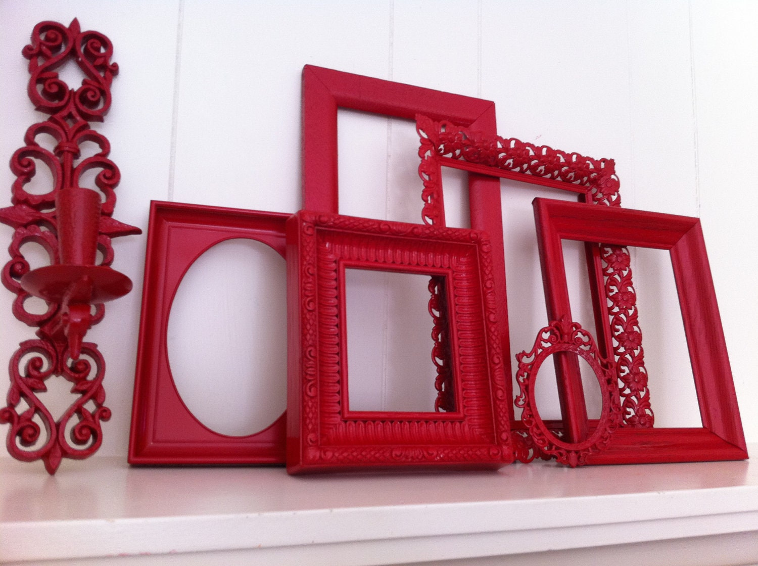 Red Frames Gallery Wall Frames Funky Vintage Frame Set Collage