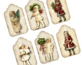 Winter Victorian Girl Gift TAGS, Printable Vintage Christmas, Instant Download Printable Sheet Old Fashioned Images, Digital Collage, Winter