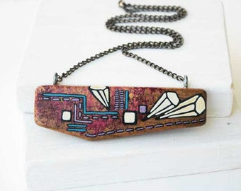 Geometric Necklace  Wood Necklace Wooden Pendant