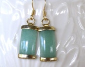 Framed Curved Jade drop earrings