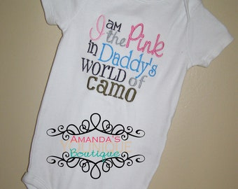 I'm The Pink In Daddy's World Of Camo, Custom, Hunting, Military, Army Navy Marine, Air Force, National Guard, Coast Guard Embroidered Shirt