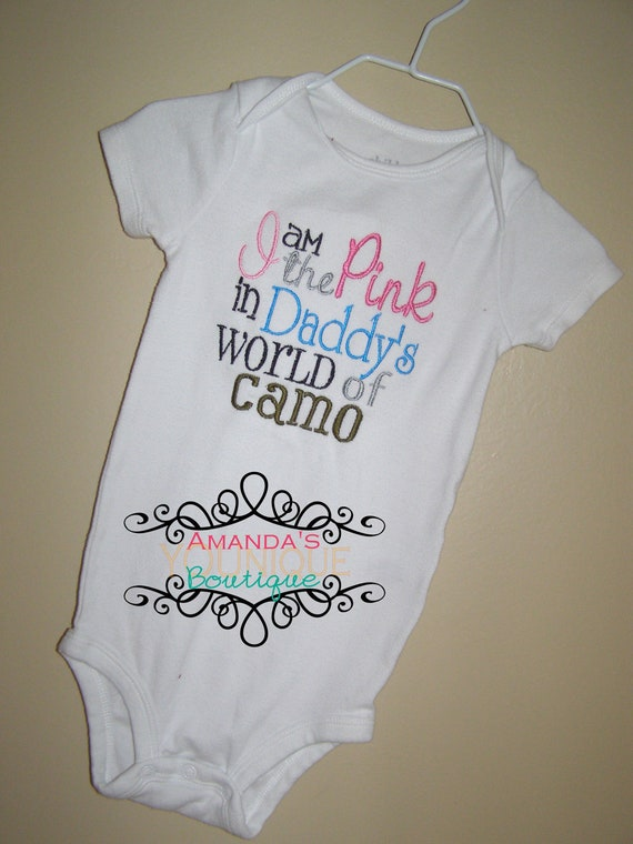 I'm The Pink In Daddy's World Of Camo Embroidered Shirt