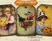 Vintage Halloween Hang Tags Digital Collage Sheet - 2.5 x 4 Inches -  INSTANT Printable Download - Grungy Halloween