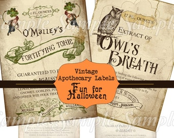 Halloween Apothecary Labels Digital Collage Sheet - Bottle Labels -  INSTANT Printable Download