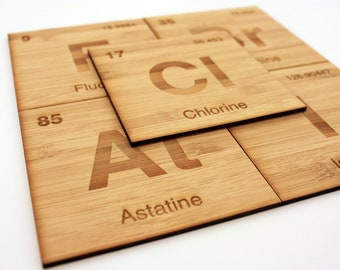 Periodic Table Halogen Coasters, Set of 5 in Bamboo