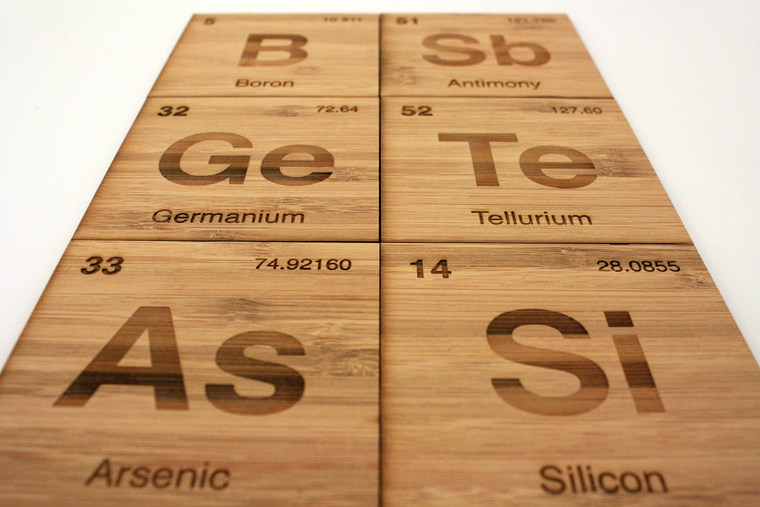 Periodic table metalloid coasters set of 6 in bamboo for Arsenic ptable
