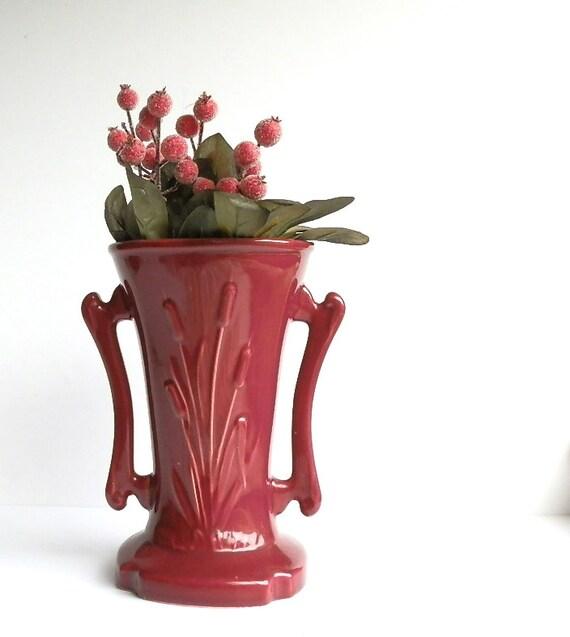 Reserved for Lorenda Vintage Garnet Art Pottery Vase Cameron Clay