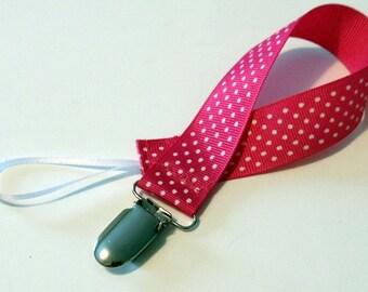 Pacifier Clip Pacifier Holder Swiss Hot pink  Ribbon