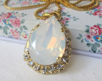 Bridal necklace, White opal and clear crystal Swarovski pendant necklace, Teardrop pendant necklace, Gold necklace, Statement necklace