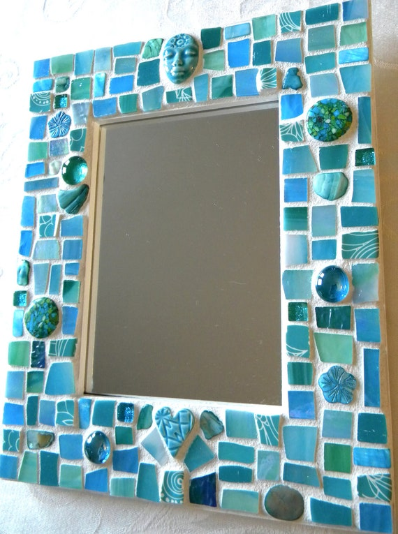 Mosaic Mirror Aqua Blue Turquoise Teal Stained Glass Beads