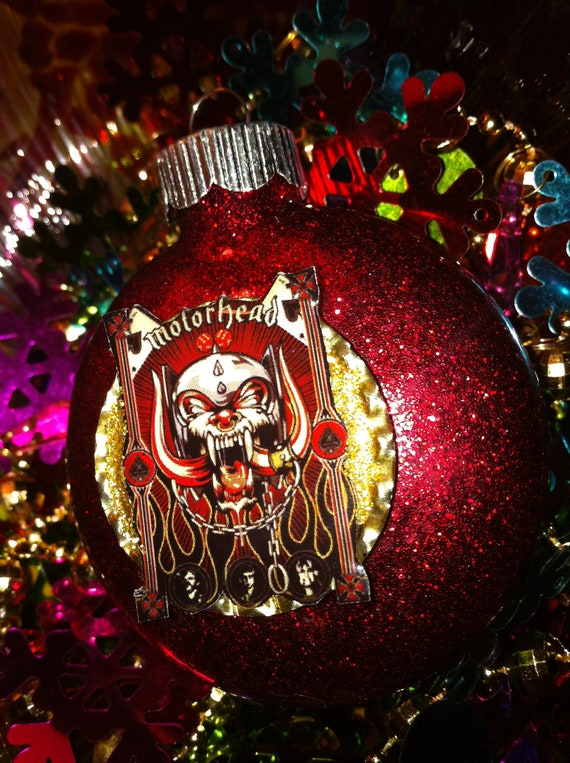 My Last One Motorhead Glass Glitter Resin Christmas Ornament