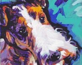 Wire Hair Fox Terrier art print modern Dog pop art bright colors 12x12