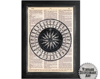 Bering Sea Compass - Printed on Vintage Dictionary Paper - 8x10.5 - Dictionary Art Print