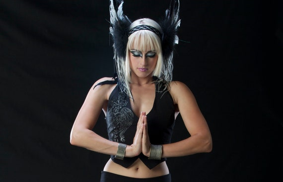 Reserved For Dawn Banks - Feather Headdress In All Black