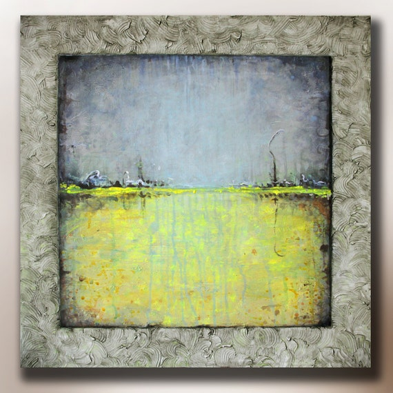 Art painting abstract acrylic Yellow Meadow Blue Sky Yellow Field  Abstract Landscape 24X24