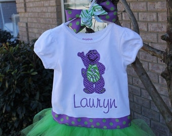 Big purple dinosaur Shirt with ATTACHED Tutu and Matching Bow