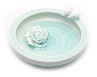 Turquoise ( light jade green )  Little Birds Porcelain Pot