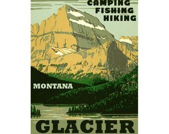GLACIER Montana 1- Handmade Leather Wall Hanging - Travel Art