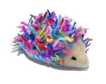 Rainbow coloured Hedgehog Needle Felt Kids Craft Kit to make 3D  DIY project, online tutorial