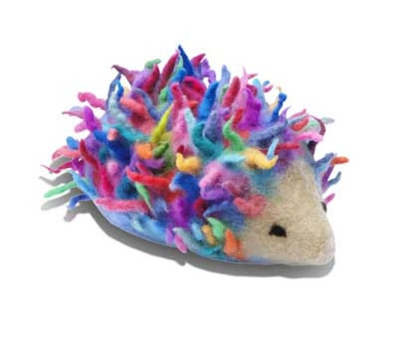 Needle Felt Kids Craft Kit to make 3D Multi-coloured Hedgehog. DIY project, online tutorial