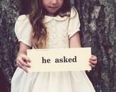 Vintage Phrase Card HE ASKED