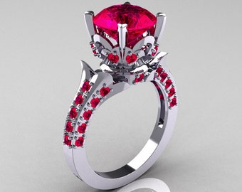 Classic French 14K White Gold 3.0 Carat Ruby Solitaire Wedding Ring R401-14KWGR