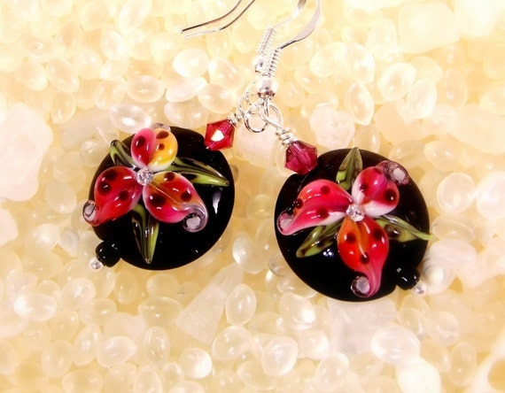 Drop Earrings Pink and Black Stargazer Lily Earrings Handmade Lampwork Glass Beads Designer Beads