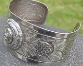 Aztec Design Mexican Silver Cuff Bracelet
