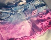 Destroyed Pink Ombre Levi High Waist Shorts