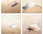 Photography print set ocean beach nautical decor sea shell set 5x5 inch  pastel gold beach photography wall art sand summer macro photo