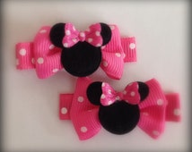 2 Boutique Girl Hair Clips Minnie Mouse Dots Hot Pink Bows Bowtique