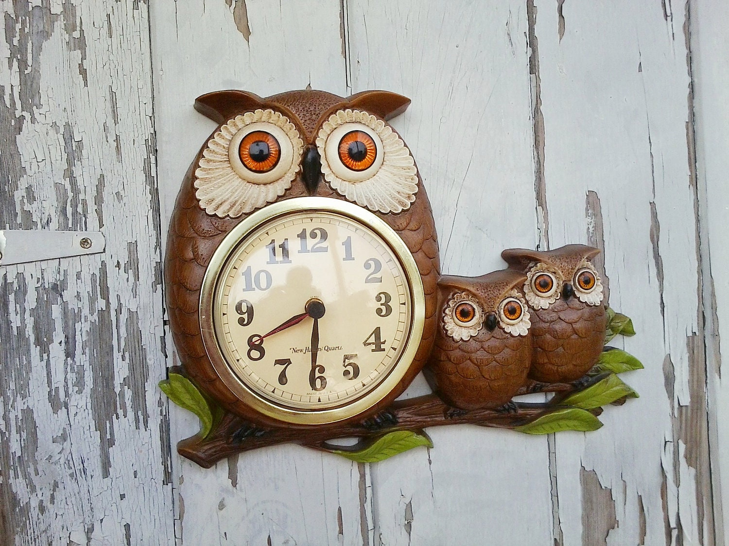 Vintage Owl Clock With Baby Owls And Mama Retro And Mod Brown