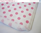 "CLEARANCE SALE 50 Kraft Paper Bags, PINK Polka Dot, Food Safe, 6.25"" x 9.25,"" Flat Merchandise Bags"
